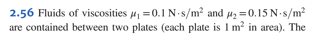 2.56 Fluids of viscosities μ,-0. I N s/m2 and μ2-0, 15 Ns/m2 are contained between two plates (each plate is 1 m in area). The