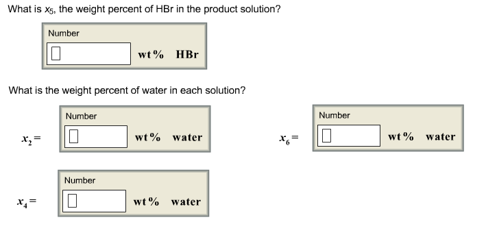 What is xs, the weight percent of HBr in the product solution? Number wt% HBr What is the weight percent of water in each solution? Number Number wt% water wt% water Number wt% water