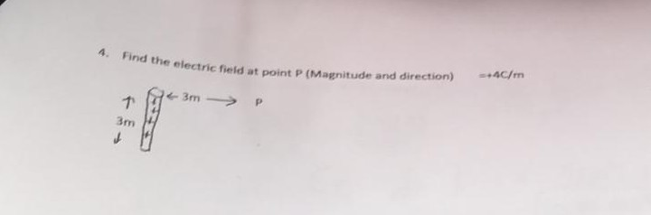 ind the electric field at point P (Magnitude and direction)CI 3m