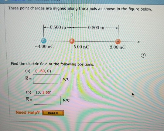 Three pint charges are aliged aiongthe x axis as shown in the figure below. 0.500 m 0.800 m -4.00 nC 5.00 nC 3.00 nC Find the electric field at the following positions. E- N/C N/C Need Help? Readt