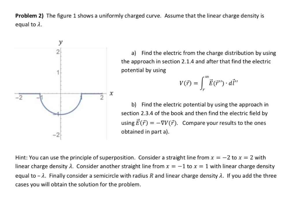 Problem 2) The figure 1 shows a uniformly charged curve. Assume that the linear charge density is equal to 2 a) Find the elec