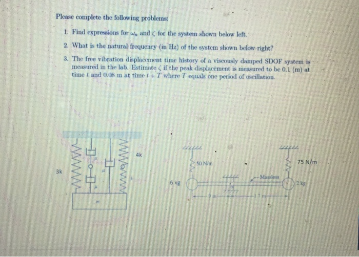 Please complete the following problems: 1. Find expressions for w, and for the systen shown below left. 2. What is the natural frequency (in Hz) of the system shown below right? 3. The free vibration displacement time history of a viscously damped SDOF system is meusured in the lab. Estimate if the peak displacement is measured to be Q.1 (m) at time f and 0.08 m at time 1 + T where T equals one period of oscillation. 4k 75 N/m 50 N/m 3k 6 kg