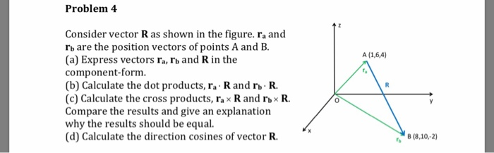 Problem 4 Consider vector R as shown in the figure. ra and rb are the position vectors of points A and B. (a) Express vectors ra, rb and R in the component-form (b) Calculate the dot products, ra R and rbR. (c) Calculate the cross products, ra x R and rbx R. Compare the results and give an explanation why the results should be equal. (d) Calculate the direction cosines of vector R. 0 B (8,10,-2)