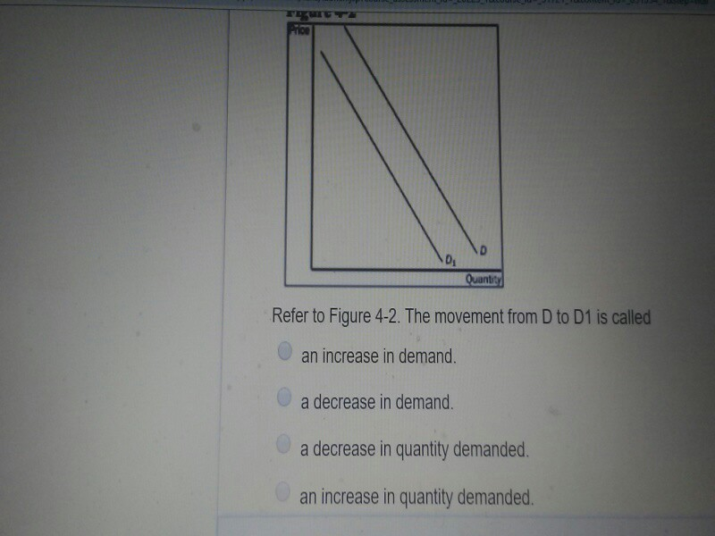 Di Refer to Figure 4-2. The movement from D to D1 is called an increase in demand. a decrease in demand. a decrease in quantity demanded. an increase in quantity demanded.