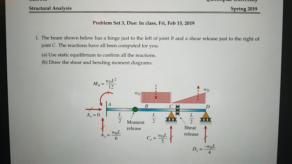 Structural Analysis Spring 2019 Problem Set 3, Due: In class, Fri, Feb 15, 2019 1. The beam shown below has a hinge just to t