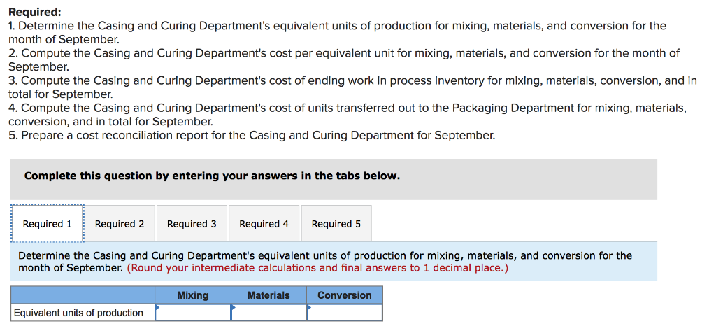 Required: 1. Determine the Casing and Curing Departments equivalent units of production for mixing, materials, and conversio