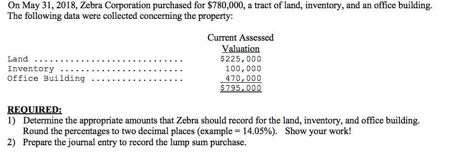 On May 31, 2018, Zebra Corporation purchased for $780,000, a tract of land, inventory, and an office building. The following data were collected concerning the property: Current Assessed $225,000 100,000 470,000 Office Building . . . REQUIRED: 1) Determine the appropriate amounts that Zebra should record for the land, inventory, and office building. Round the percentages to two decimal places (example 14.05%). 2) Prepare the journal entry to record the lump sum purchase Show your work!