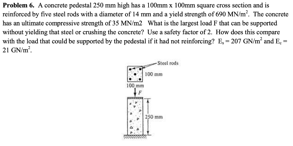 Problem 6. A concrete pedestal 250 mm high has a 100mm x 100mm square cross section and is reinforced by five steel rods with a diameter of 14 mm and a yield strength of 690 MN/m2. The concrete has an ultimate compressive strength of 35 MN/m2 What is the largest load F that can be supported without yielding that steel or crushing the concrete? Use a safety factor of 2. How does this compare with the load that could be supported by the pedestal if it had not reinforcing? E,- 207 GN/m2 and E 21 GN/m2 Steel rods 100 mm 100 mm p 250 mm