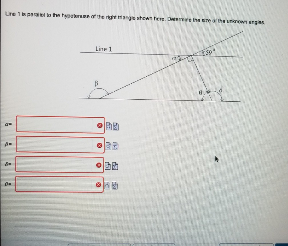 Line 1 is parallel to the hypotenuse of the right triangle shown here. Determine the size of the unknown angles. Line 1 01國團