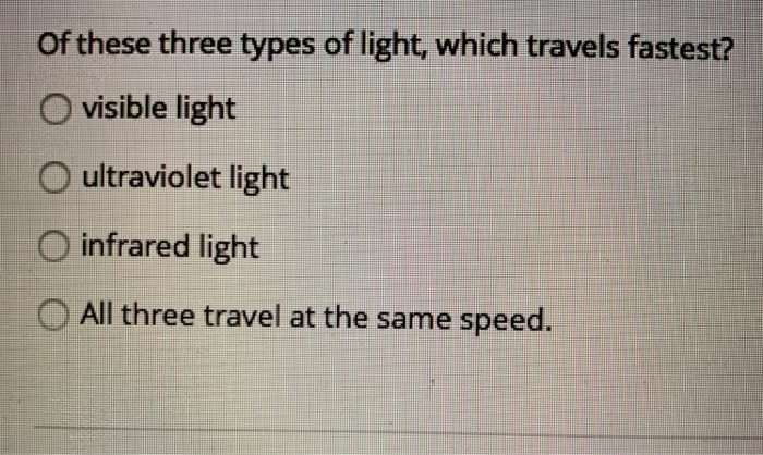 Of these three types of light, which travels fastest? O visible light O ultraviolet light O infrared light O All three travel at the same speed.