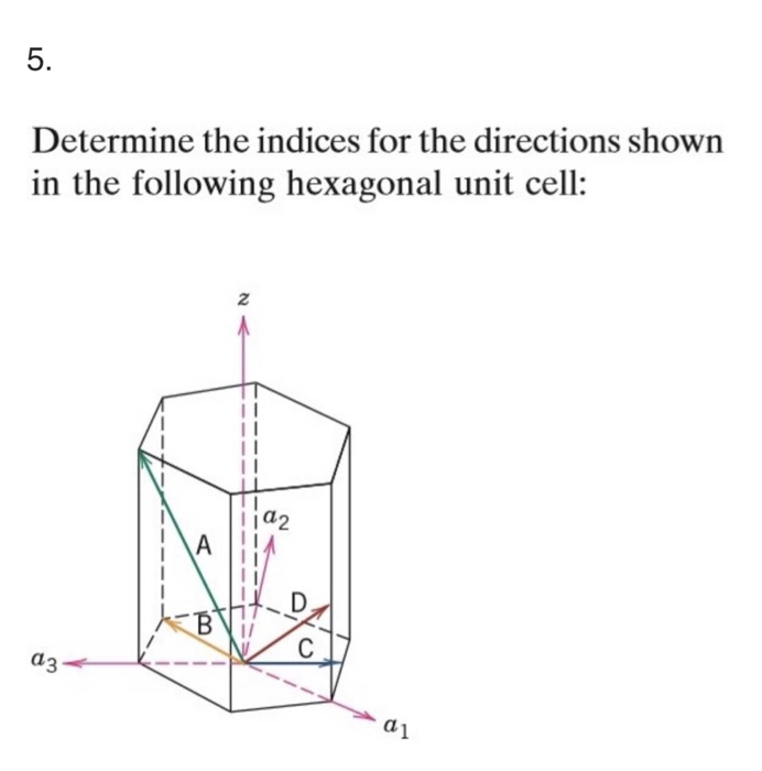 5. Determine the indices for the directions shown in the following hexagonal unit cell: 2 ia2 I/ α1