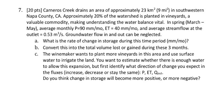 [20 pts] Carneros Creek drains an area of approximately 23 km2 (9 mi2) in southwestern Napa County, CA. Approximately 20% of