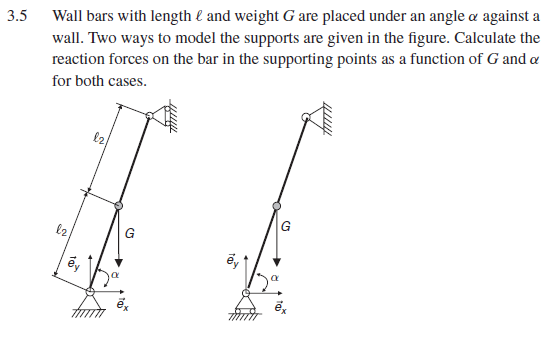 3.5 Wall bars with length 1 and weight G are placed under an angle α against a wall. Two ways to model the supports are given in the figure. Calculate the reaction forces on for both cases. ng points as a