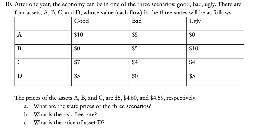 10. After one year, the economy can be in one of the three scenarios: good, bad, ugly. There are four assets, A, B, C, and D, whose value (cash flow) in the three states will be as follows: Good $10 $0 $7 $5 $5 $5 $4 $0 Ugly $0 $10 $4 $5 The prices of the assets A, B, and C, are $5, $4.60, and $4.59, respectively a. What are the state prices of the three scenarios? b. What is the risk-free rate? c. What is the price of asset D?