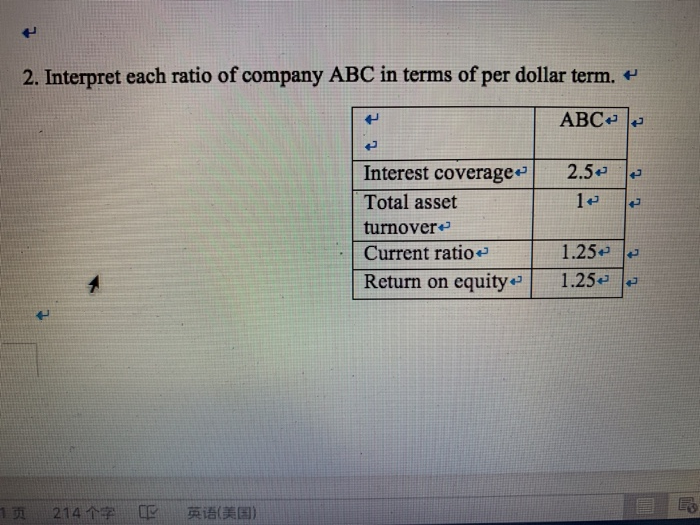 2. Interpret each ratio of company ABC in terms of per dollar term. ABC Interest coverage 2.5 Total asset turnover Current ra