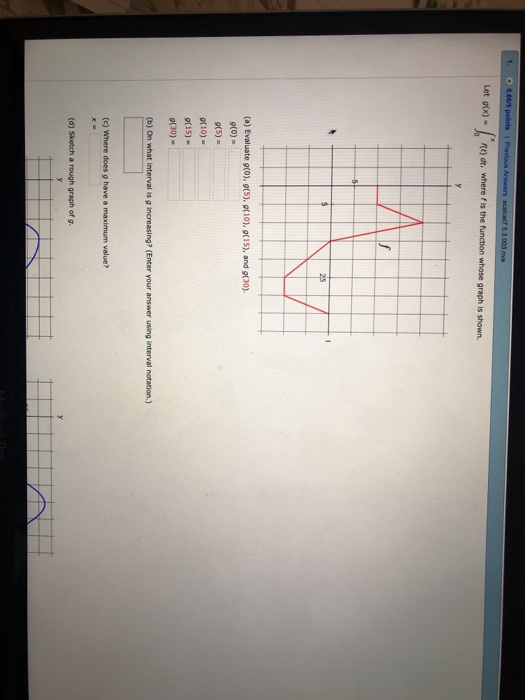 Let 9tx)- dt, wheref is the function whose graph is shown. (a) Evaluate g(0), 9(5), gt10), g(15), and g(30). g(o)- gt5)- (10) 9(15) 9(30) (c) Where does g have a