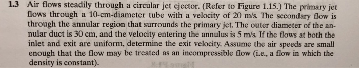 1.3 Air flows steadily through a circular jet ejector. (Refer to Figure 1.15.) The primary jet flows through a 10-cm-diameter tube with a velocity of 20 m/s. The secondary flow is through the annular region that surrounds the primary jet. The outer diameter of the an- nular duct is 30 cm, and the velocity entering the annulus is 5 m/s. If the flows at both the inlet and exit are uniform, determine the exit velocity. Assume the air speeds are small enough that the flow may be treated as an incompressible flow (ie, a flow in which the density is constant).