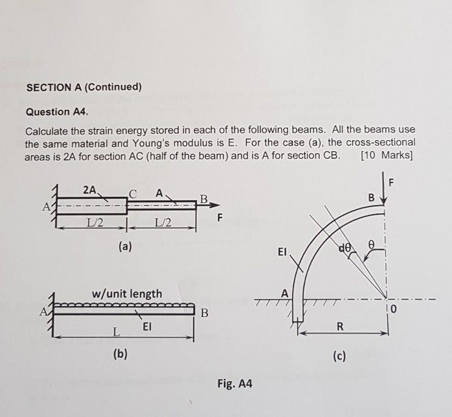 SECTION A (Continued) Question A4 Calculate the strain energy stored in each of the following beams. All the beams use the same material and Youngs modulus is E. For the case (a), the cross-sectional areas is 2A for section AC (half of the beam) and is A for section CB. [10 Marks 2A C A L/2 El w/unit length l 0 El Fig. A4