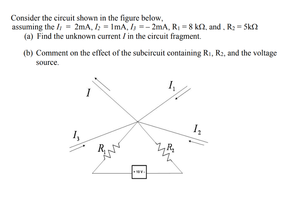Consider the circuit shown in the figure below, assunin g the lı = 2mA, 12 = 1 mA, 13--2mA, R,-8 kQ, and , R,-5kD (a) Find the unknown current / in the circuit fragment. (b) Comment on the effect of the subcircuit containing Ri, R2, and the voltage source. 尺 +10 V