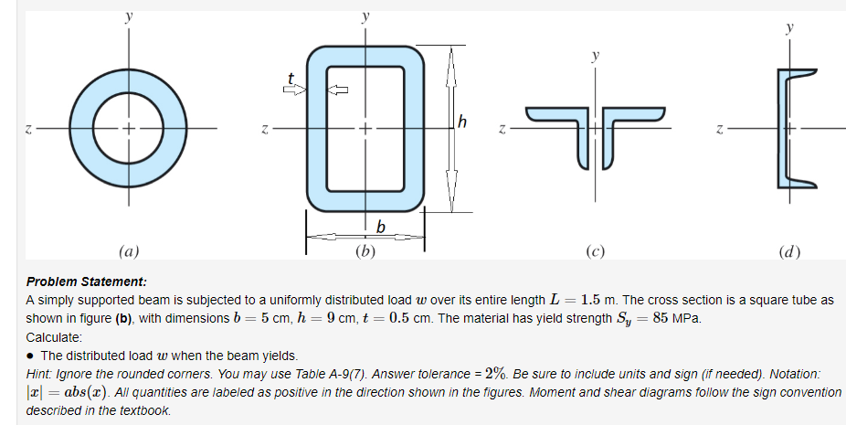 .y Problem Statement: A simply supported beam is subjected to a uniformly distributed load w over its entire length L 1.5 m. The cross section is a square tube as shown in figure (b), with dimensions b 5 cm, h -9 cm, t 0.5 cm. The material has yield strength Sy- 85 MPa Calculate . The distributed load w when the beam yields. Hint ignore the rounded corners. You may use Table A-9(7) Answer tolerance-%. Be sure to include units and sign m needed. Notaton abs(z). All quantities are labeled as positive in the direction shown in the figures. Moment and shear diagrams follow the sign convention described in the textbook.