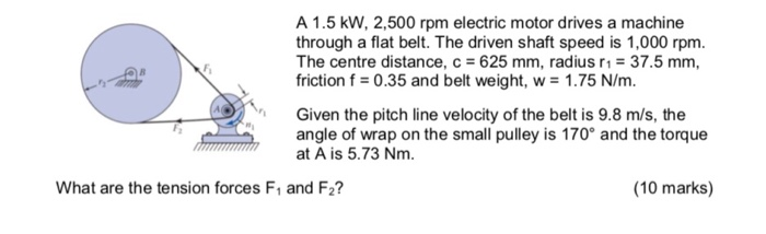 A 1.5 kW, 2,500 rpm electric motor drives a machine through a flat belt. The driven shaft speed is 1,000 rpm. The centre distance, c 625 mm, radius r1-37.5 mm friction f0.35 and belt weight, w 1.75 N/m. Given the pitch line velocity of the belt is 9.8 m/s, the angle of wrap on the small pulley is 170° and the torque at A is 5.73 Nm What are the tension forces F and F2? (10 marks)