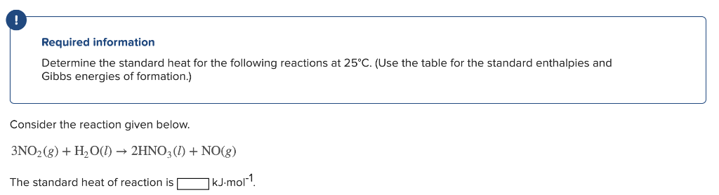 Required information Determine the standard heat for the following reactions at 25°C. (Use the table for the standard enthalp