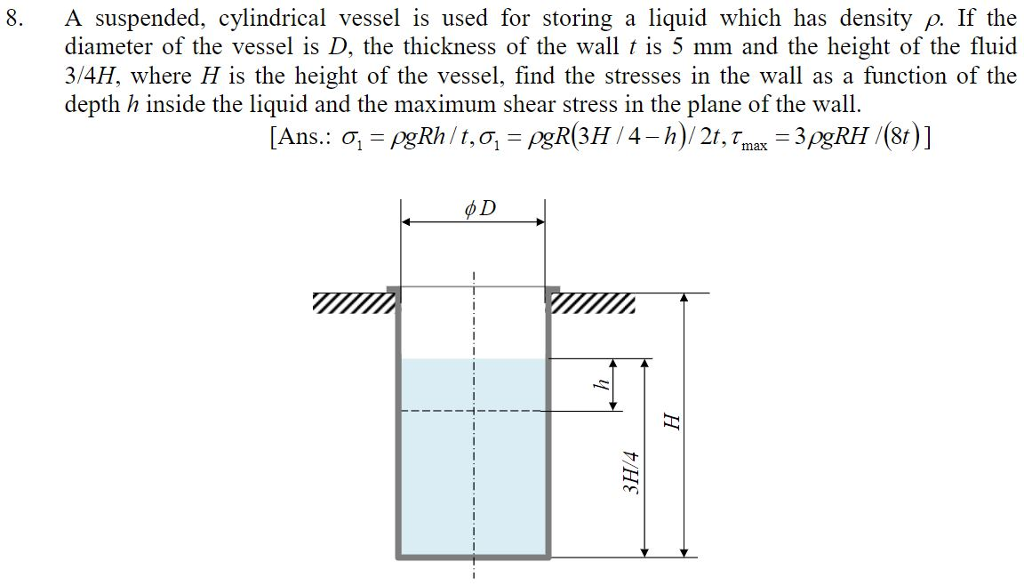 A suspended, cylindrical vessel is used for storing a liquid which has density ρ diameter of the vessel is D, the thickness of the wall t is 5 mm and the height of the fluid 3/4H, where H is the height of the vessel, find the stresses in the wall as a function of the depth h inside the liquid and the maximum shear stress in the plane of the wall. 8. If the 9 D