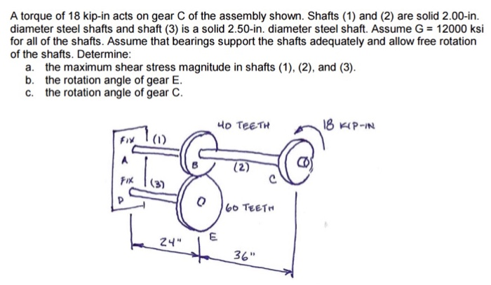 A torque of 18 kip-in acts on gear C of the assembly shown. Shafts (1) and (2) are solid 2.00-in. diameter steel shafts and shaft (3) is a solid 2.50-in. diameter steel shaft. Assume G 12000 ksi for all of the shafts. Assume that bearings support the shafts adequately and allow free rotation of the shafts. Determine: a. the maximum shear stress magnitude in shafts (1), (2), and (3) b. the rotation angle of gear E. c. the rotation angle of gear C. Fix (i) TEET 36