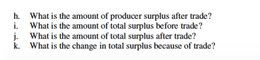 h. What is the amount of producer surplus after trade? i. What is the amount of total surplus before trade? j. What is the amount of total surplus after trade? k. What is the change in total surplus because of trade?