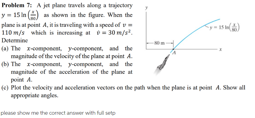 Problem 7: A jet plane travels along a trajectory y-15 In as shown in the figure. When the plane is at point A, it is traveling with a speed of v- 110 m/s which is increasing at30 m/s Determine (a) The x-component, y-component, and the 80 80 80 m magnitude of the velocity of the plane at point A. (b) The x-component, y-component, and the magnitude of the acceleration of the plane at point A. (c) Plot the velocity and acceleration vectors on the path when the plane is at point A. Show all appropriate angles please show me the correct answer with full setp