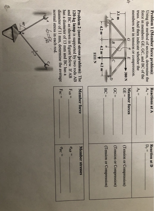 Problem 1 (Member force problem): Using the method of section, determine the force in members GE, GC, and BC of the truss. An