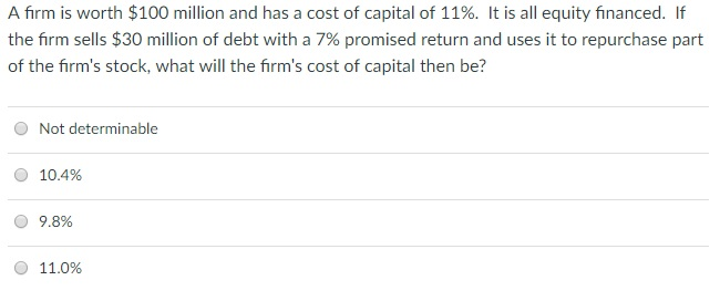 A firm is worth $100 million and has a cost of capital of 11%. It is all equity financed. If the firm sells $30 million of debt with a 7% promised return and uses it to repurchase part of the firms stock, what will the firms cost of capital then be? O Not determinable O 10.4% 9.8% O 11.0%