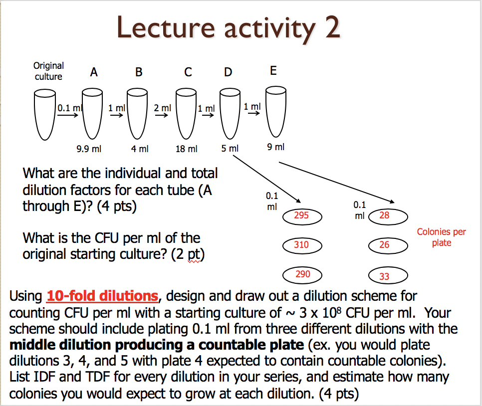 Lecture activity 2 Original culture 0.1 m 2 ml 9.9 ml 4 ml 18 ml 5 ml 9 ml What are the individual and total dilution factors for each tube (A 0.1 through E)? (4 pts) 0.1 ml28 295 Colonies per plate What is the CFU per ml of the 26 310 original starting culture? (2 pt) 290 Using 10-fold dilutions, design and draw out a dilution scheme for counting CFU per ml with a starting culture of ~ 3 x 108 CFU per ml. Your scheme should include plating 0.1 ml from three different dilutions with the middle dilution producing a countable plate (ex. you would platee dilutions 3, 4, and 5 with plate 4 expected to contain countable colonies) List IDF and TDF for every dilution in your series, and estimate how many colonies you would expect to grow at each dilution. (4 pts)