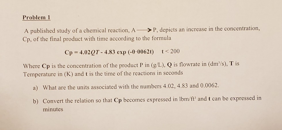Problem 1 A published study of a chemical reaction, A >P, depicts an increase in the concentration, Cp, of the final product