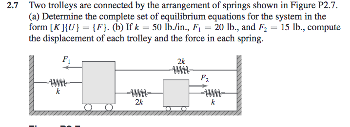 2.7 Two trolleys are connected by the arrangement of springs shown in Figure P2.7. (a) Determine the complete set of equilibrium equations for the system in the form [KHU) F. (b) Ifk 50 lb.in, F1 20 lb., and F2 15 lb., compute the displacement of each trolley and the force in each spring F1 2k F. 2k