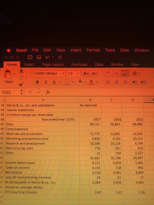 Excel File Edit View Insert Format Tools Data Window Home Insert Page Layout Formulas Data ReviewView Calibri (Body) 12A- A Paste As reported 43 Merck & co., Inc. and subsidiaries 44 | Income statements 45 In millions except per share data 46 47 Sales 48 Costs/expenses 49 Materials and production 2017 40,122 2015 39,498 Year ended near 12/31: 2016 39,807 12,775 13,891 9,762 10,208 10,124 651 720 33,60135,148 4,659 718 3,941 21 14,934 10,313 6,704 619 1,527 34,097 5,401 942 4,459 17 4,442 Marketing and administrative 51 Research and development 52 Restructuring costs 53 Other 9,830 776 12 55 Income before taxes 6 Taxes on income 7 Net income 8 Less: Nl noncontroling interests 9 NI Attributable to Merck & co., Inc. 0 Diluted w. average shares 1 EPS Assuming Dilutiorn 6,521 4,103 2.418 24 2394 3,920 0.87 141 1.56