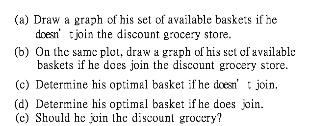(a) Draw a graph of his set of available baskets if he doesn tjoin the discount grocery store. (b) On the same plot, draw a graph of his set of available baskets if he does join the discount grocery store. (c) Determine his optimal basket if he doesn t join. (d) Determine his optimal basket if he does join. (e) Should he join the discount grocery?