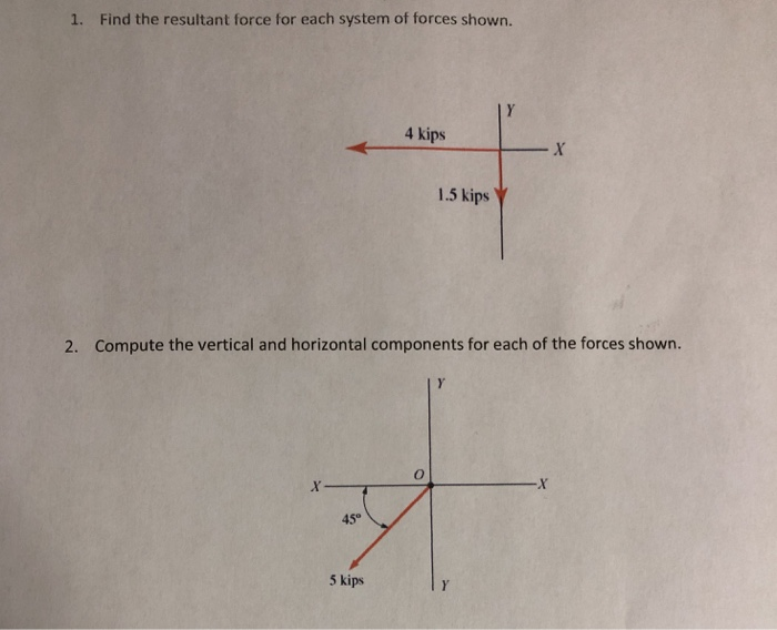 1. Find the resultant force for each system of forces shown. 4 kips 1.5 kips y 2. Compute the vertical and horizontal compone