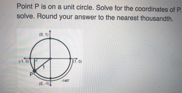 Point P is on a unit circle. Solve for the coordinates of P. solve. Round your answer to the nearest thousandth. 1, 0) 140