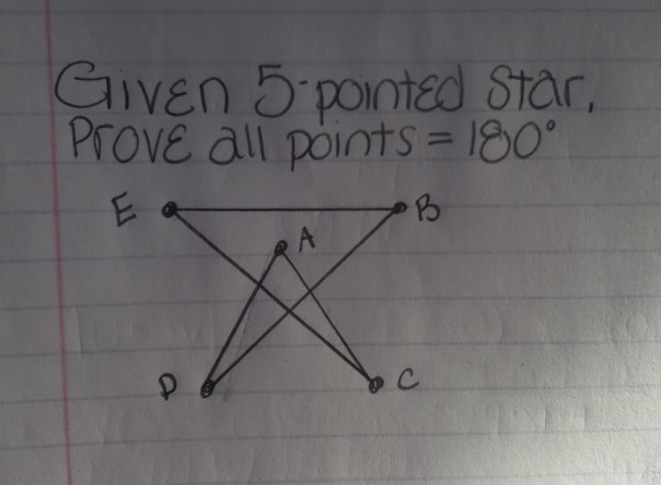 Given 5 pointed Star Prove all points 18o 25