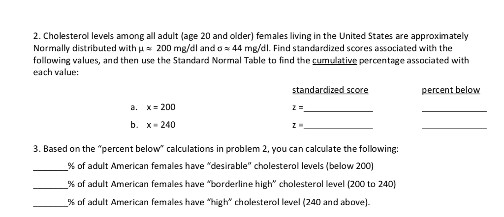 2. Cholesterol levels among all adult (age 20 and older) females living in the United States are approximately Normally distributed with ~ 200 mg/dl and ơ-44 mg/dl. Find standardized scores associated with the following values, and then use the Standard Normal Table to find the cumulative percentage associated with each value: standardized score percent below a. x 200 b. x 240 3. Based on the percent below calculations in problem 2, you can calculate the following: % of adult American females have desirable cholesterol levels (below 200) % of adult American females have borderline high cholesterol level (200 to 240) % of adult American females have high cholesterol level (240 and above).