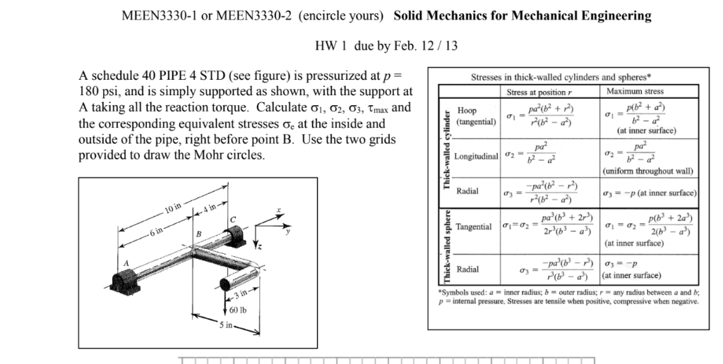 MEEN3330-1 or MEEN3330-2 (encircle yours) Solid Mechanics for Mechanical Engineering HW 1 due by Feb. 12/13 A schedule 40 PIP