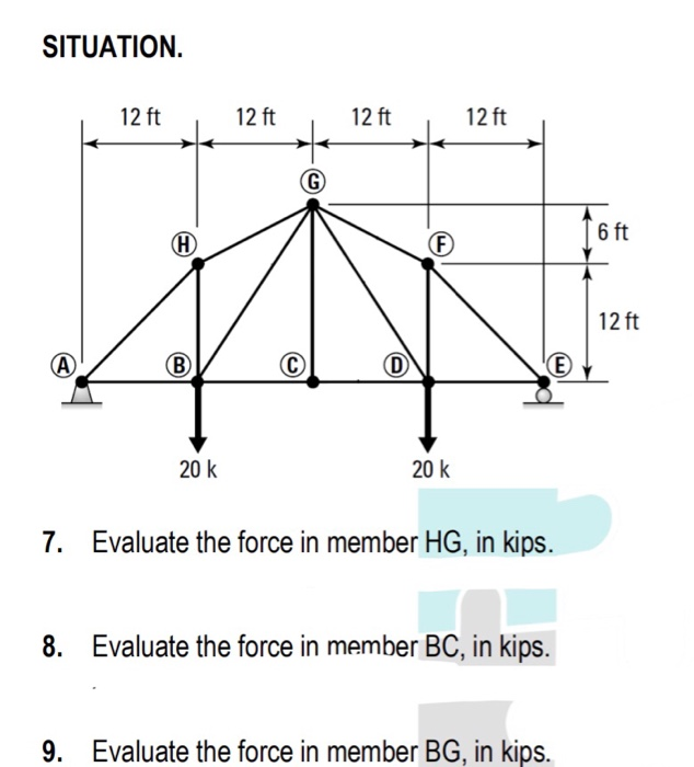 SITUATION. 12 ft 12 ft 12 ft 12 ft 6 ft 12 ft 20 k 20 k 7. Evaluate the force in member HG, in kips. 8. Evaluate the force in