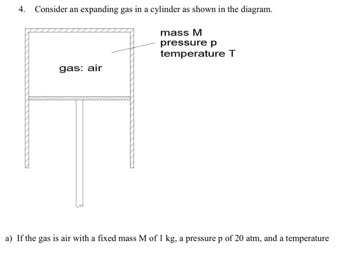 4. Consider an expanding gas in a cylinder as shown in the diagram. mass M pressure p temperature T gas: air a) If the gas is air with a fixed mass M of 1 kg, a pressure p of 20 atm, and a temperature