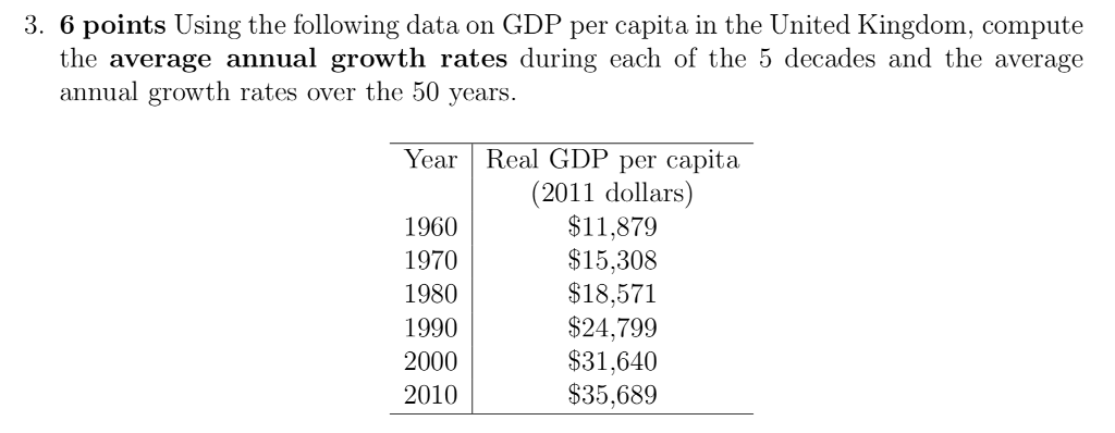 3. 6 points Using the following data on GDP per capita in the United Kingdom, compute the average annual growth rates during each of the 5 decades and the average annual growth rates over th 50 vears Year Real GDP per capita 1960 1970 1980 1990 2000 2010 (2011 dollars) $11,879 $15,308 $18,571 $24,799 $31,640 $35,689