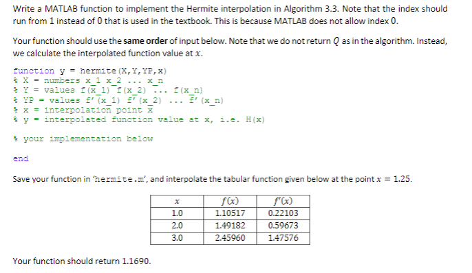 Write a MATLAB function to implement the Hermite interpolation in Algorithm 3.3. Note that the index should run from 1 instead of 0 that is used in the textbook. This is because MATLAB does not allow index 0 Your function should use the same order of input below. Note that we do not return Q as in the algorithm. Instead, we calculate the interpolated function value at x. function y hermite (X,Y,YF,x) = X=number3 x 1 x 2 x n %-= value3 f(x 1) f(x 2) f(x n) x-interpolation, (x2) f(x y ïnterpolated function value at x, i.e. H(x) x 2) .. x n) x = interpolation point X your implementation below end Save your function in hermite.n, and interpolate the tabular function given below at the point x 1.25. f(r) 110517 f (x) 0.22103 0.59673 147576 1.0 2.0 2.45960 Your function should return 1.1690.