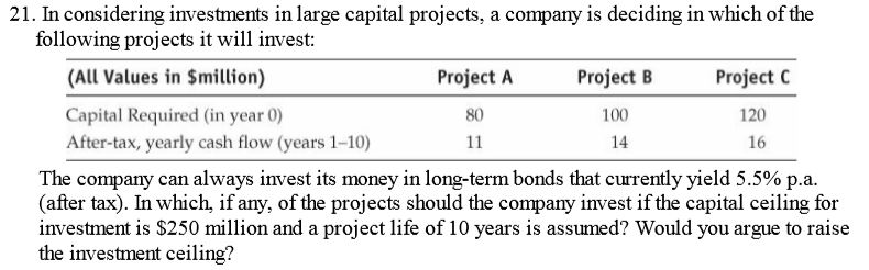 21. In considering investments in large capital projects, a company is deciding in which of the following projects it will invest: (All Values in Smillion) Project A Project B 100 14 Project C 120 16 Capital Required (in year 0) 80 After-tax, yearly cash flow (years 1-10) The company can always nvest its money in long-term bonds that currently yield 5.5% pa. (after tax). In which, if any, of the projects should the company invest if the capital ceiling for investment is S250 million and a project life of 10 years is assumed? Would you argue to raise the investment ceiling?