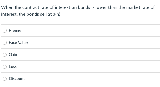 When the contract rate of interest on bonds is lower than the market rate of interest, the bonds sell at a(n) Premium O Face Value Gain O Loss O Discount