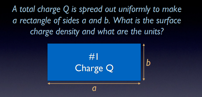 A total charge Q is spread out uniformly to make a rectangle of sides a and b. What is the surface charge density and what are the units? #1 Charge Q