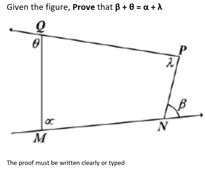 Given the figure, Prove that β + θ-α + λ 0 he The proof must be written clearly or typed